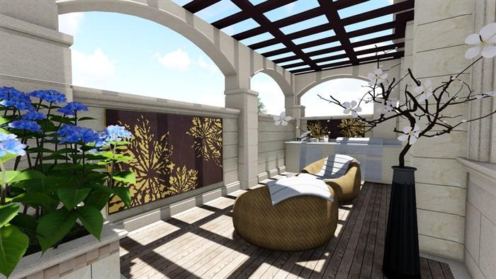 别墅庭院欧式景观设计su素材模型(2)