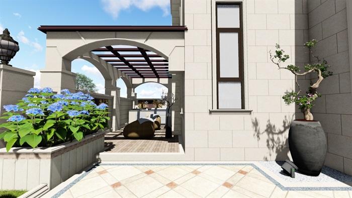 别墅庭院欧式景观设计su素材模型(3)