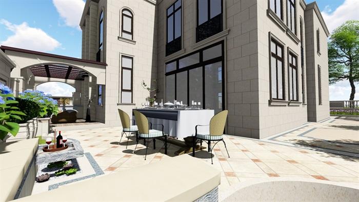 别墅庭院欧式景观设计su素材模型(4)