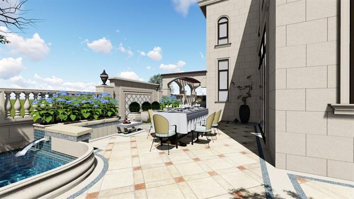 别墅庭院欧式景观设计su素材模型(6)