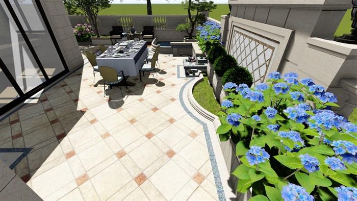 别墅庭院欧式景观设计su素材模型(7)