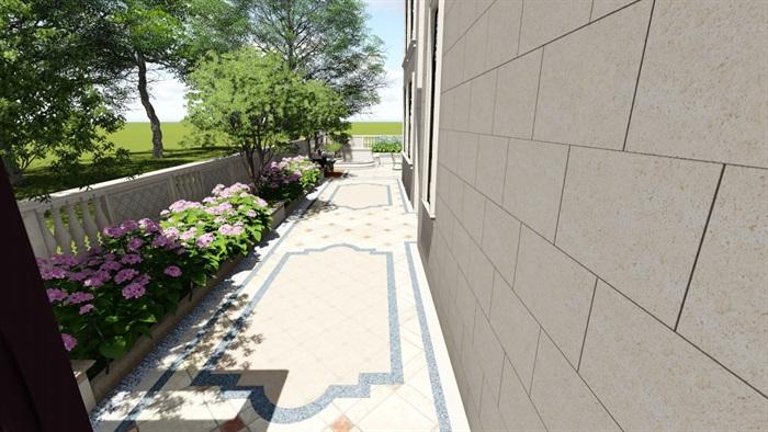 别墅庭院欧式景观设计su素材模型(9)