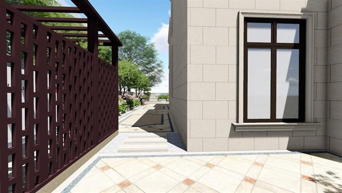别墅庭院欧式景观设计su素材模型(10)