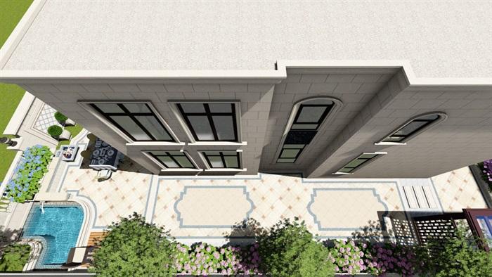 别墅庭院欧式景观设计su素材模型(11)