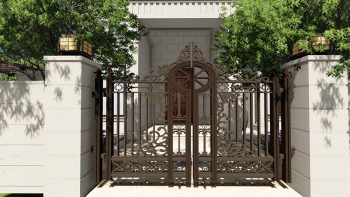 别墅庭院欧式景观设计su素材模型(16)