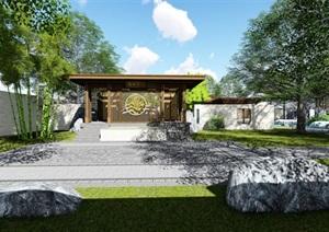 中式古建别墅庭院景观设计SU(草图大师)素材模型