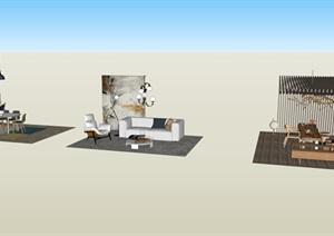 北欧家具摆件SU(草图大师)素材模型