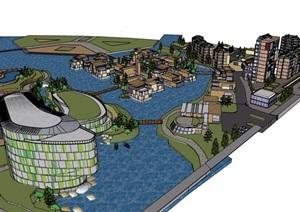 某详细的完整度假区建筑设计SU(草图大师)模型
