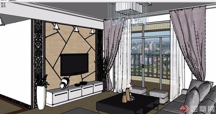 某現代風格詳細的完整客廳裝飾設計su模型