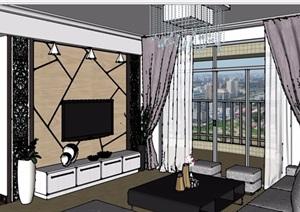 某现代风格详细的完整客厅装饰设计SU(草图大师)模型
