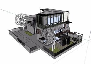 現代風格詳細的完整三層別墅設計su模型