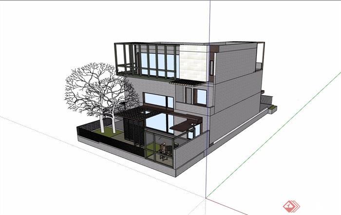 现代风格详细的完整三层别墅设计su模型