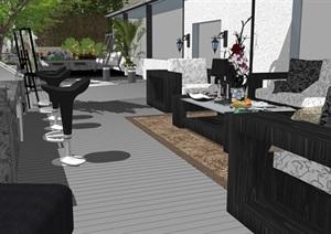 现代风格公共酒店露台园林景观设计模型
