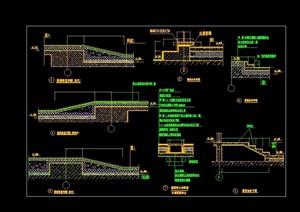 详细的屋面台阶坡道排水沟cad详图