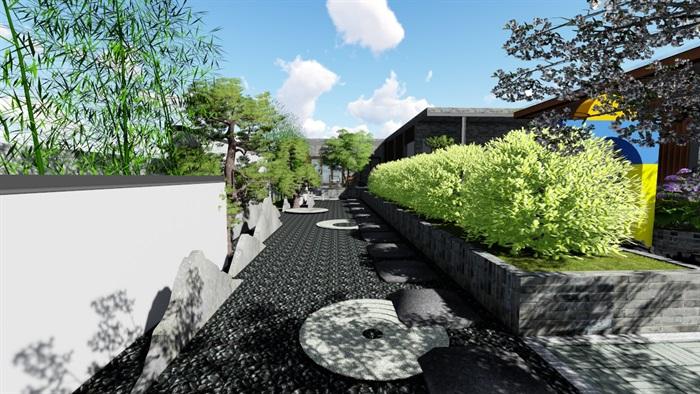新中式别墅庭院景观设计6su素材模型(2)