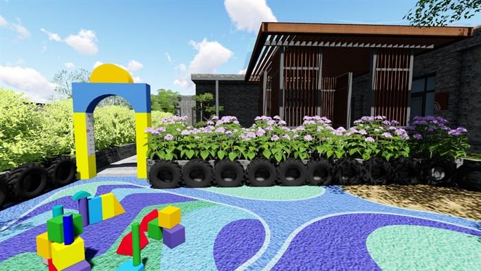 新中式别墅庭院景观设计6su素材模型(3)