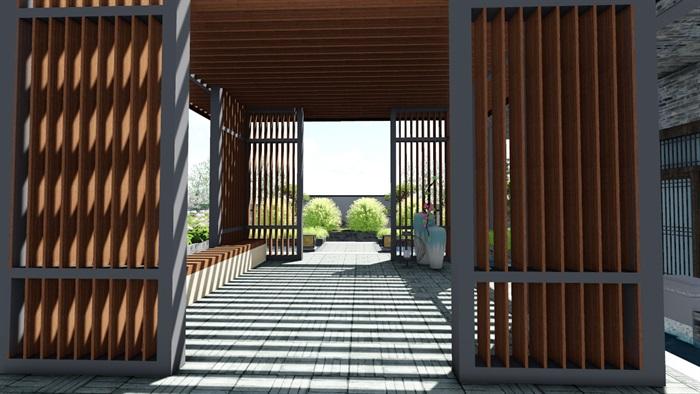 新中式别墅庭院景观设计6su素材模型(4)