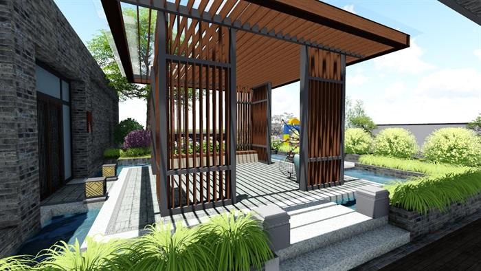 新中式别墅庭院景观设计6su素材模型(5)