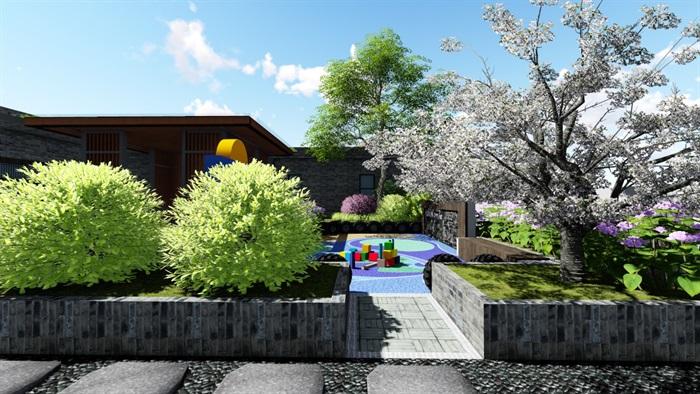 新中式別墅庭院景觀設計6su素材模型(8)