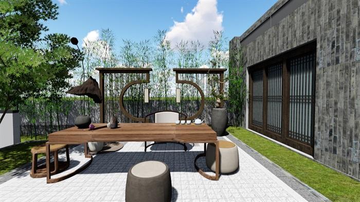 新中式别墅庭院景观设计6su素材模型(9)