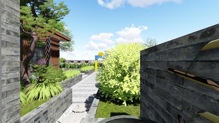 新中式别墅庭院景观设计6su素材模型(11)