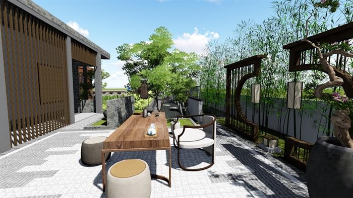 新中式別墅庭院景觀設計6su素材模型(12)