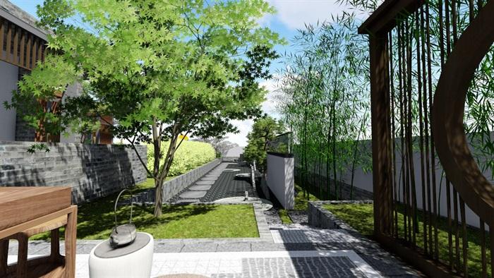 新中式別墅庭院景觀設計6su素材模型(13)