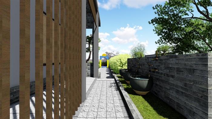 新中式别墅庭院景观设计6su素材模型(14)