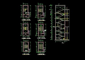 詳細的多層完整建筑樓梯cad詳圖
