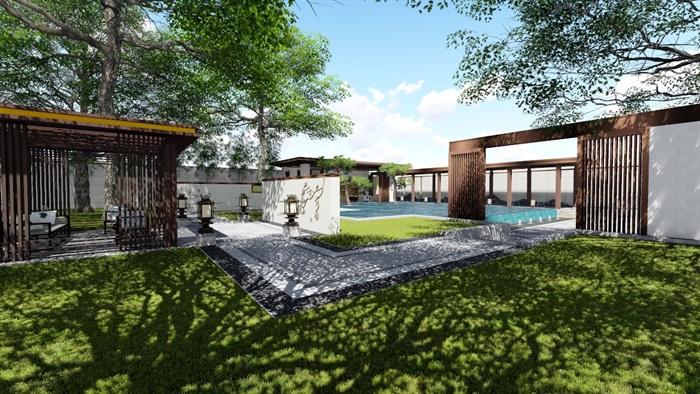 新中式景觀庭院設計su模型素材(1)