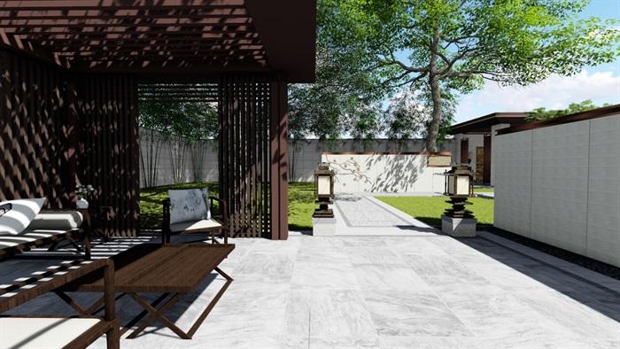新中式景觀庭院設計su模型素材(5)