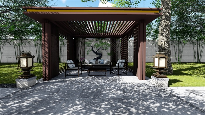 新中式景觀庭院設計su模型素材(6)