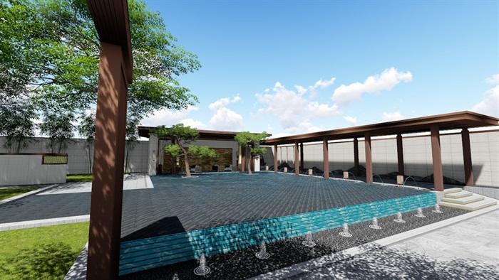 新中式景觀庭院設計su模型素材(7)
