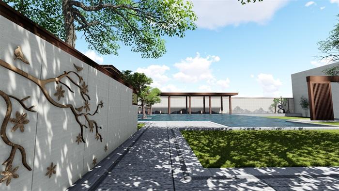 新中式景觀庭院設計su模型素材(8)