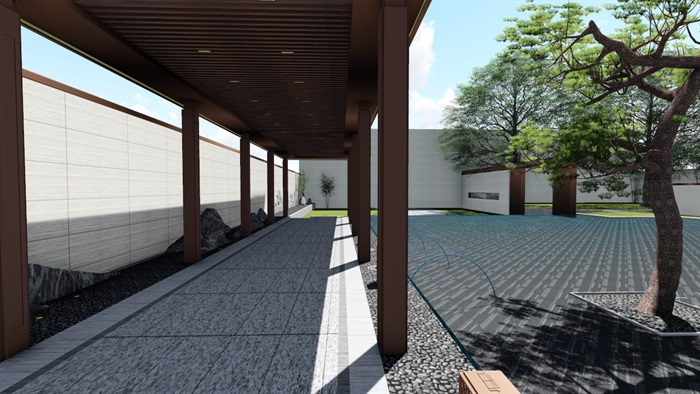 新中式景觀庭院設計su模型素材(12)