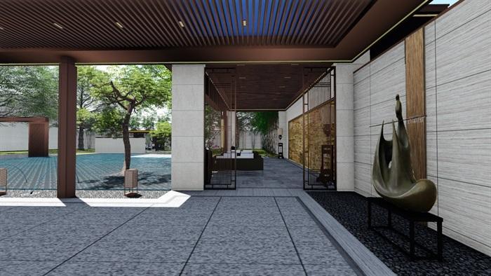 新中式景觀庭院設計su模型素材(14)