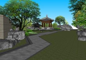 中式风格游园假山凉亭景观设计SU(草图大师)模型素材