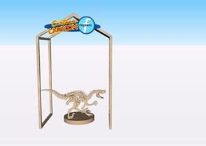 恐龙支架商铺摆件SU(草图大师)模型素材