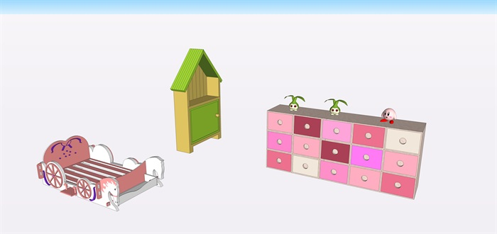 兒童房間家具su素材模型(1)