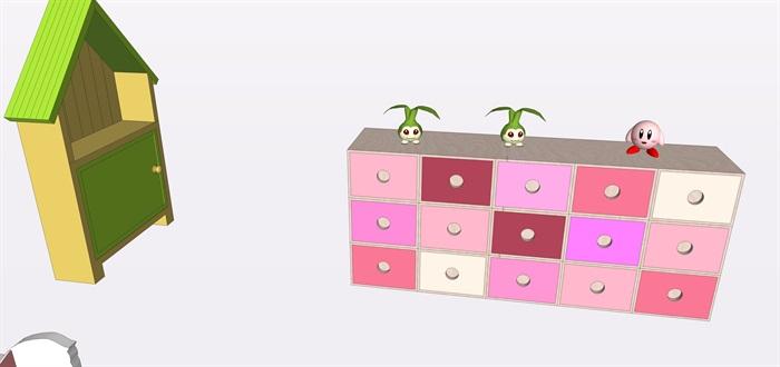 兒童房間家具su素材模型(3)