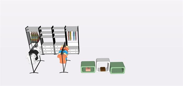 兒童店鋪展覽柜子展覽架子su素材模型(1)