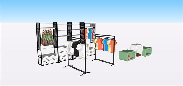 兒童店鋪展覽柜子展覽架子su素材模型(3)