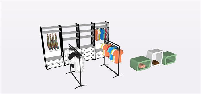 兒童店鋪展覽柜子展覽架子su素材模型(4)