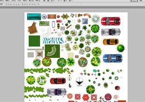 平面图设计素材psd平面植物、车模型、指南针、花架、石头等等