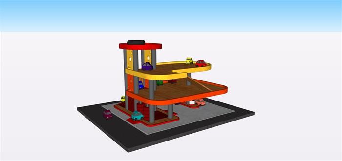 玩具停車場車子su素材模型(1)