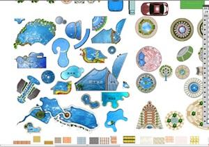 平面设计素材psd平面内含多种形状水池、花坛、运动区域、地面铺装、多种植物色块、桌椅等等