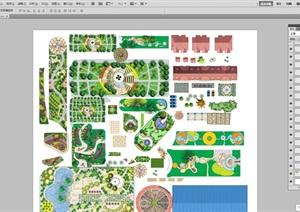 彩色psd平面图设计素材含小游园厂区节点景观设计组景