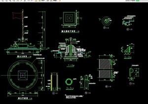 园林景观旗台小品素材设计cad施工图