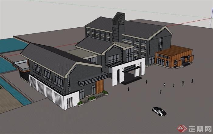 中式風格詳細的完整多層會所建筑樓設計su模型