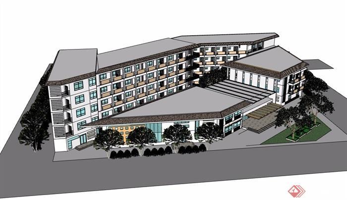 現代多層詳細的完整酒店建筑樓設計su模型